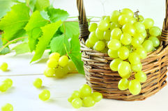 Grape and leaves in basket on wooden table Stock Photos
