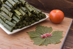 Grape leaves stuffed with meat and rise. Stock Photo