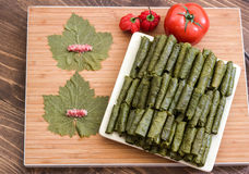 Grape leaves stuffed with meat and rise. Royalty Free Stock Image