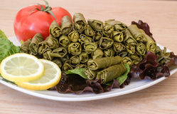 Grape leaves stuffed with meat and rise. Royalty Free Stock Photography
