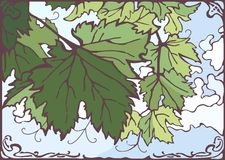 Grape leaves vector hand drawn illustration Royalty Free Stock Photo