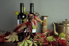 Grape Leaves And Wine Stock Images