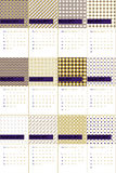 Grape and marigold colored geometric patterns calendar 2016 Royalty Free Stock Image