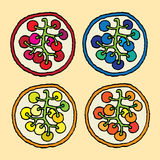 Grape medallions by sort. Four grape medallions by sort red, blue, yellow and orange Stock Photography