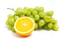 Grape and orange. Isolated on a white background Stock Image