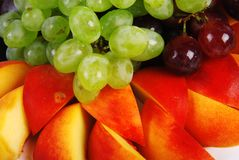Grape and peach Royalty Free Stock Photography