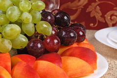 Grape and peach 7 Stock Images