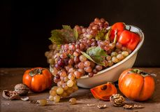 Grape, Persimmon and Walnut Still Life stock photos