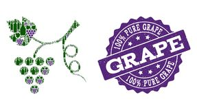 Grape Plant Mosaic of Wine Bottles and Grape and Grunge Stamp royalty free stock photography
