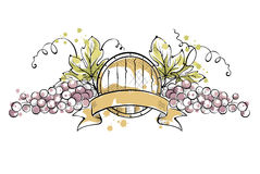Grape with ribbon and wine cask Stock Photography