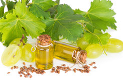 Grape seed oil with grape and grapevine Stock Photography