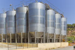 Grape Tanks. Stainless Steel Silos for the fermentation of the grape Royalty Free Stock Photo
