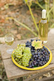 From grape to wine. A still life composition with grape and wine Royalty Free Stock Image