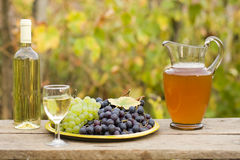 From grape to wine. A still life composition with grape, must and wine Royalty Free Stock Image