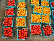 Grape Tomatoes. Farm stand display of yellow and red grape tomatoes royalty free stock photos