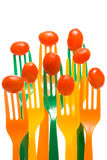 Grape Tomatoes on Forks Stock Images