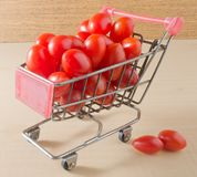 Grape Tomatoes on A Mini Shopping Cart Royalty Free Stock Photography