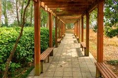 Grape trellis-Pavilion corridor. The clever design of the rest cool air corridor, but also the grape, Park community facilities Stock Photos