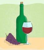 Grape vine and bottle of wine. Vector illustration of grape vine and bottle of wine Stock Photos