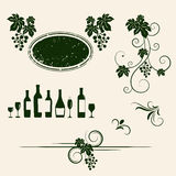 Grape vines and decorative elements set. Stock Photo