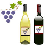 Grape vineyard red white wine bottles labels. A grape vineyard symbol on the labels of red & white rhone & bordeaux shape wine bottles. Illustration Stock Photography