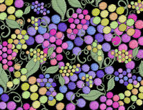 Grape vineyard  wine artistic hand painted on a black background. Fruit colorful harvest grape vineyard pattern wall paper black background Stock Photography