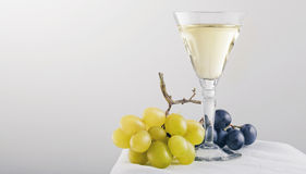 Grape and white wine Stock Images