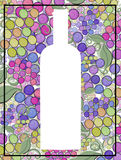 Grape wine artistic hand painted  bottle silhouette on a background of wine grapes Stock Photography