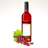 Grape with Wine Bottle Stock Photo