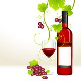 Grape with Wine Bottle and Glass Royalty Free Stock Photo