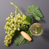 Grape and wine. Green grape and wine, top view Royalty Free Stock Photo