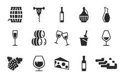 Grape wine icons set. Wine icon set grape wine icons Stock Images