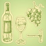 Grape wine set. Hand drawn illustration with wine glass, grapes, bottle. Set of stickers royalty free illustration