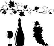 Grape and wine silhouettes set. Wine related objects silhouettes set Stock Photos