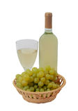 Grape, wineglass and bottle with wine isolated on white Stock Photography