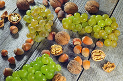 Grapeberries, hazelnuts and walnuts on a wooden table. Photo of grape berries, hazelnuts and walnuts on a wooden table Royalty Free Stock Image