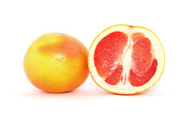 Grapefruit. The whole and halved red grapefruit isolated on a white background Royalty Free Stock Photo