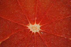 Grapefruit. Middle of ripe red grapefruit is removed by close up Stock Images