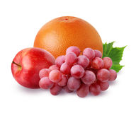 Grapefruit, Apple and grapes  isolated on white background Royalty Free Stock Photography