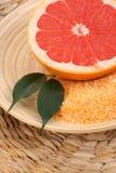Grapefruit bath salt Royalty Free Stock Photos