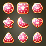 Grapefruit Candies For Match Three Game Stock Image