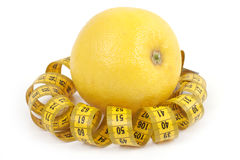Grapefruit with centimetre. Stock Photos