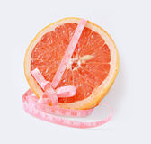 Grapefruit with centimetre Royalty Free Stock Image