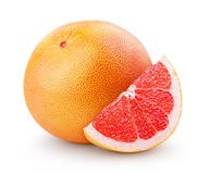 Grapefruit citrus fruit with slice isolated on white Royalty Free Stock Image