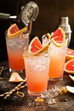Grapefruit cocktail in tall glasses Stock Photo