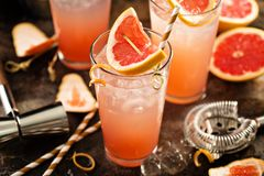 Grapefruit cocktail in tall glasses Stock Image