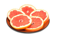 The grapefruit cut with circles Stock Photography