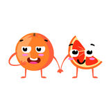 Grapefruit. Cute fruit vector character couple isolated on white background. Funny emoticons faces. Illustration. Stock Photo