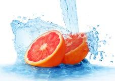 Grapefruit in een nevel van water royalty-vrije stock foto