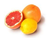 Grapefruit en citroen. Stock Foto's